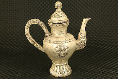 chinese old tibet silver hand carved buddha tea pot