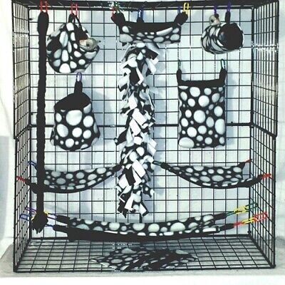 Black with White Dots *15 PC Sugar Glider Cage set * Rat * double layer Fleece