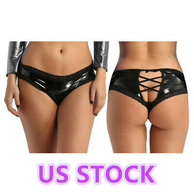 US Sexy Women Faux Leather Lace G-string Brief Panties Thongs Lingerie Underwear