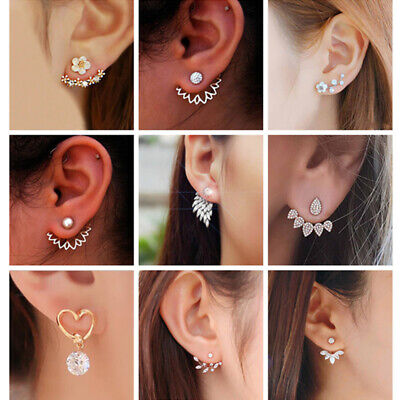 Women Fashion Bohemian Crystal Rhinestone Pearl Dangle Drop Stud Earrings Gift