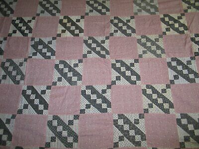 Fabulous Antique Jacobs Ladder Quilt Top / Black White Red Vintage Shirtings