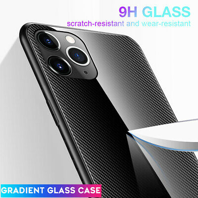 Slim Hybrid Tempered Glass Case for iPhone 11 Pro Max XR X Shockproof Hard Cover