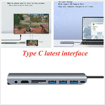 Type-C 9-In-1 Converter Hub Docking Adapter To 3.0 HUB 4K HDMI PD TF VGA