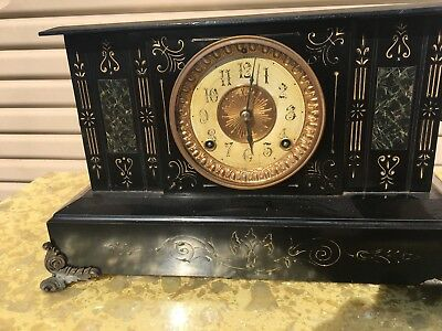 Ansonia Clock Co Patent 1882 New York American Antique Clock Rams Heads 1880s