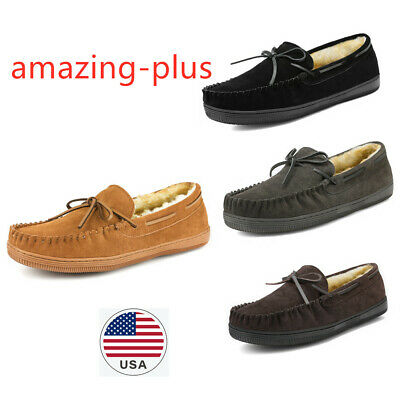 Black Brown Size Suede Fur Slip On Loafers Men's Moccasin Slipper Size 6.5 to 15
