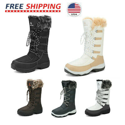 Women Winter Warm Cold Weather Waterproof Mid Calf Full Faux Fur Low  Snow Boots
