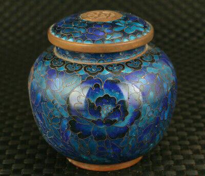 asian unusual Old cloisonne tea caddy statue Home  decoration gift