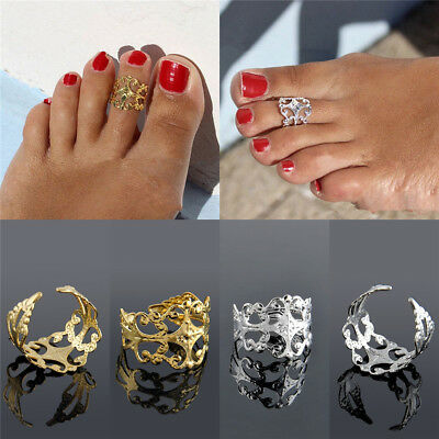 Vintage Women Lady Gold Silver Metal Toe Ring Foot Beach Jewelry Adjustable NEW