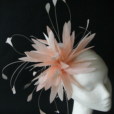 Apricot Feather Fascinator for Weddings, Races and Proms