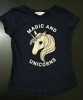 H&M Girls Navy Blue Unicorn Top Age 10-11 Years Pre-owned