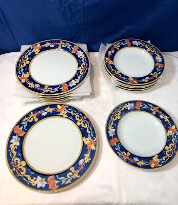 Bernardaud Limoges Porcelain Roma Bleu Set 6 dinner plate + 6 soup plate NEW IN