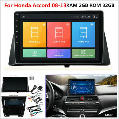 For 08-13 Honda Accord 10.1'' Android 9.1 GPS Navigation Stereo Radio WiFi 2+32G