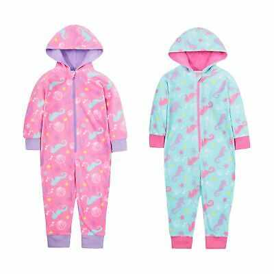 Girls Seahorse All In One Hooded Fleece Kids Novelty Zipped Jumpsuit Gift