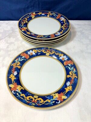 Bernardaud Limoges Porcelain Roma Bleu Set 6 Desser Plate NEW IN BOX