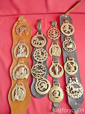 Job Lot Vintage Horse Brass - Mixed Brasses On Four Martingales Set 3