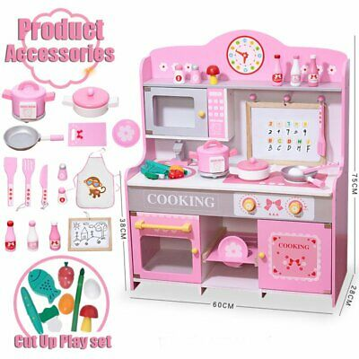 Wooden Play Kitchen Large Childrens Toy Kids Play Set Cooking Role Pretend New