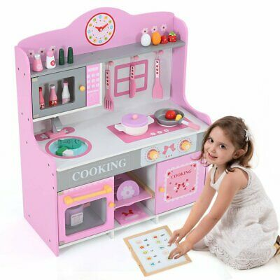 Large Kids Pink Wooden Play Kitchen Children's Role Play Pretend Set w/ 23 ACCE
