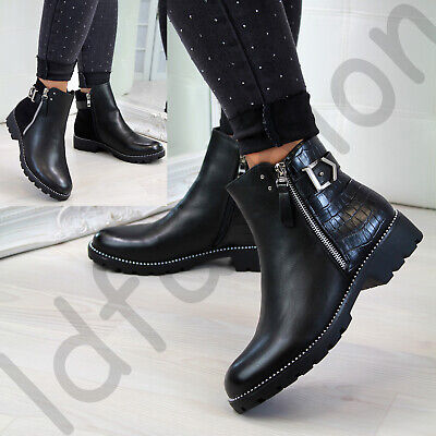 New Womens Flat Ankle Boots Zip Buckle Studs Comfy Low Heel Ladies Shoes Sizes