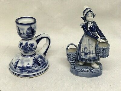 Pair Of Old Delft Figures