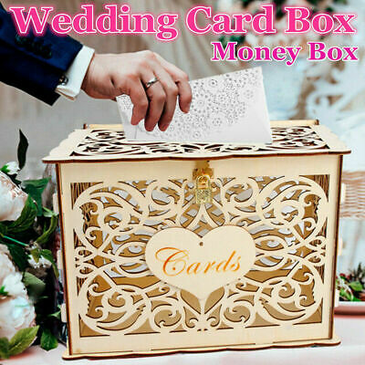 Us Diy Wedding Gift Card Box Wooden Money Box With Lock