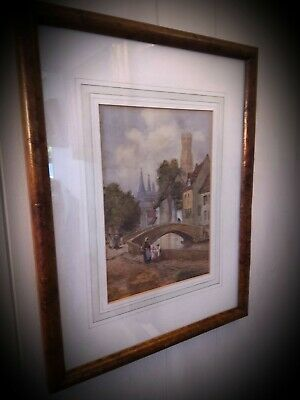 Burr walnut framed late 19th/early 20th C. watercolour