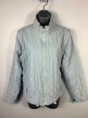 Womens Joules Baby Blue Pink Diamond Quilted Casual Coat Gilet Jacket Size 12