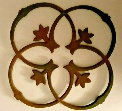 Antique Cast Iron Trivet Tulip Design Footed Stove Top Early 1800'S
