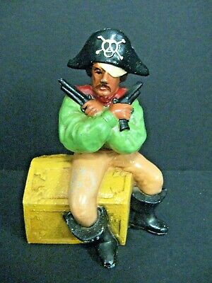 Antique Cast Iron Pirate Coin Bank OLD VTG CAST METAL FIGURAL STILL COIN BANK