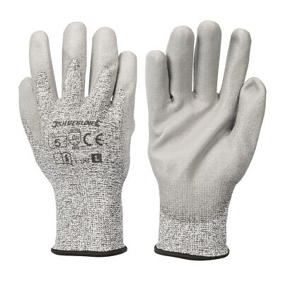 LARGE Cut Tear Resistant Gloves - 13-Gauge Knitted & PU-Coated Palms & Fingers