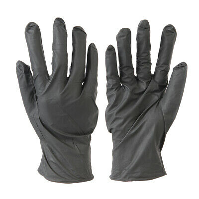 100x Disposable BLACK Nitrile Gloves -LARGE- Latex Free Food Prep Painting Spray