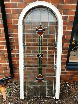 ARCHED STAINED GLASS ANTIQUE LEADED WINDOW 178cmx76cm