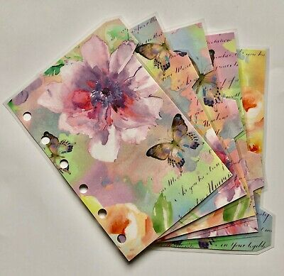Filofax Pocket Sized Dividers in Bright Rainbow Butteflies - Fully Laminated