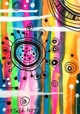 ACEO 2019 Original Pen Gouache Painting Art Colourful Abstract  Sue Flask