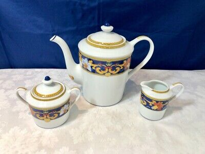 Bernardaud Limoges Porcelain Roma Bleu Coffeepot + Sugar bowl + Creamer NEW