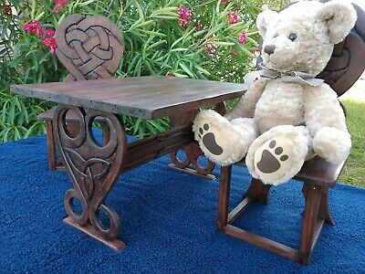 BJD SD Medieval Celtic Table & Chairs Hand Carved Artisan Made Doll Furniture
