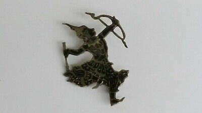 Vintage Sterling Silver Black Enamel Siam Niello God  Brooch Pin Bow  & Arrow