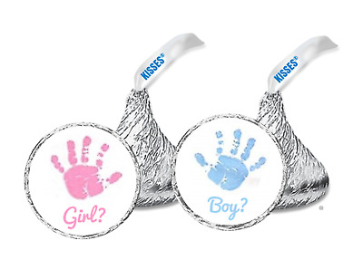 108 Gender Reveal Stickers Labels Party Baby Kisses Candy Party Favor Seal Crown