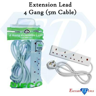 4 Gang Extension Lead 5m Cable - UK Socket Power Mains Plug, Pifco - CE Approved