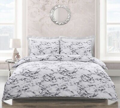 Marble Effect Grey White Reversible Duvet Cover and Pillowcase(s) Bedding Set