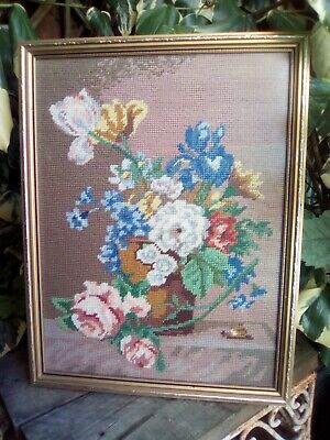 Vintage Framed Completed Floral Needlepoint Completed Work Floral Design