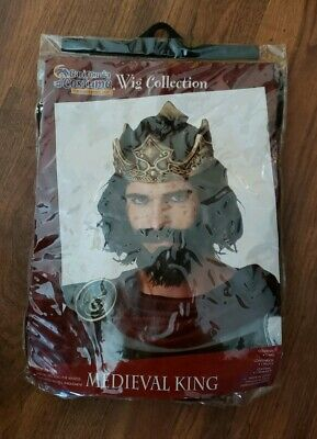 W336 Medieval Royal King Renaissance King Arthur Mens Costume Brown Wig