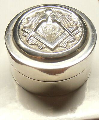 "Antique ""Sterling Silver Snuff Box/Pill Box ""- Raised Masonic Symbol On Lid"