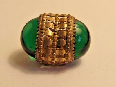 Wonderful Victorian Pierced Gilt Brass and Emerald Glass Button