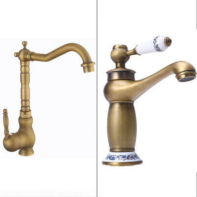 Antique Bronze Brass Faucet Gold Hot Cold Water Kitchen Sink Rotary Basin Faucet