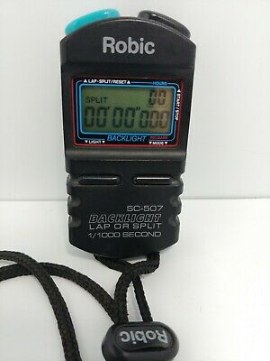 Robic SC-507 Stop Watch Lap or Split Time 1/1000 Second w/ Backlight