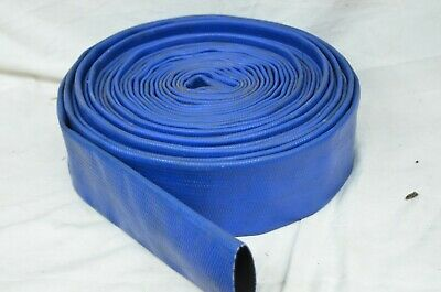 "Discharge Hose 2"" IN X 50' FT Flat Lay PVC Sump Pump Hose Blue Pool Pond Water"