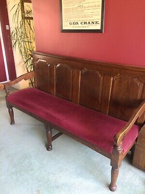 Antique Oak High Back Coaching Style Settle