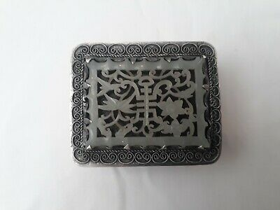 Antique 19th Century Chinese Carved Pale Celadon Jade Openwork Plaque Silver Box