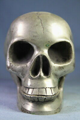 Collectable Handmade Miao Silver Carving Person Cranial Head Exquisite Statue