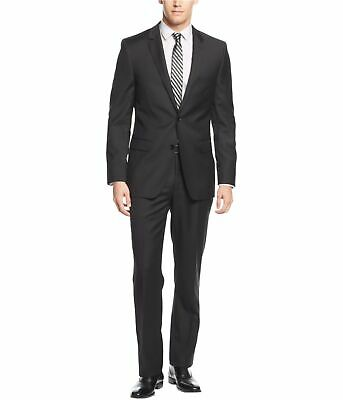 DKNY Mens Solid Extra-Slim-Fit Two Button Formal Suit black 42/Unfinished